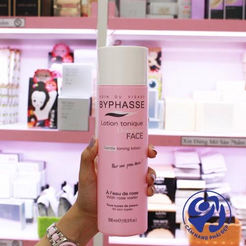 Nước hoa hồng Byphasse Face Soft Toner Lotion chai màu hồng