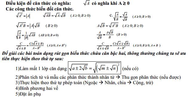 ví dụ về định nghĩa căn thức bậc hai