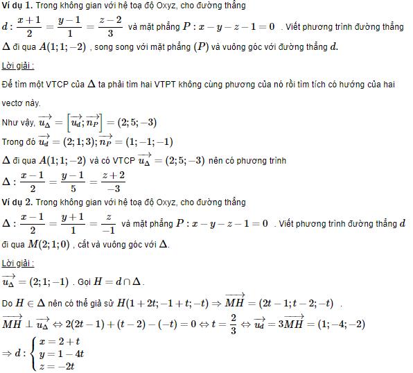 tổng hợp kiến thức lý thuyết phương trình đường thẳng trong không gian và các dạng toán