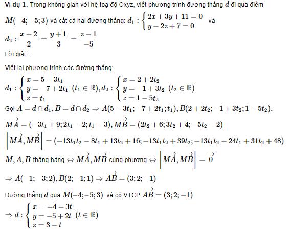 phương trình đường thẳng trong không gian với hai đường thẳng khác